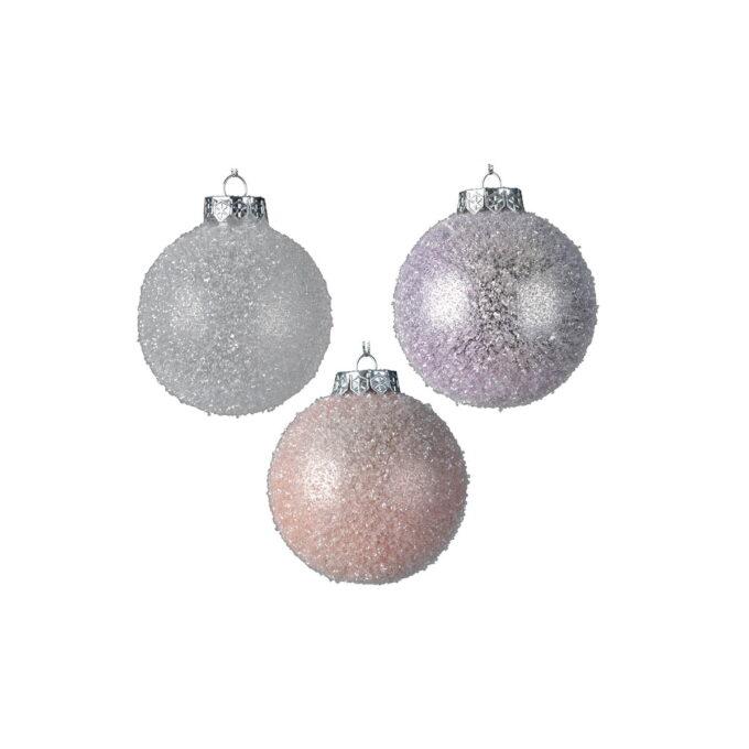Juletrepynt julekuler i pastell farger med sølvdetaljer. Kommer i assorterte farger. Pris pr stykk