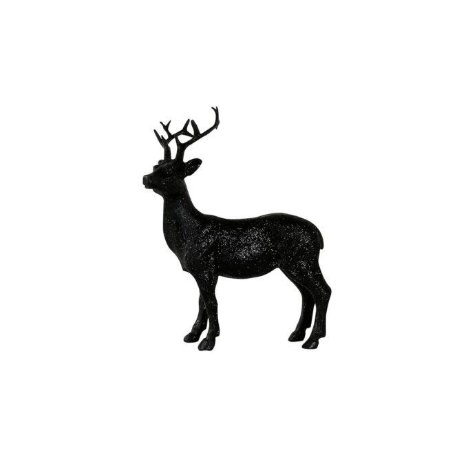 Hjort i sort med glitter Høyde 16 cm- fin som dekorasjon på fat eller bord.
