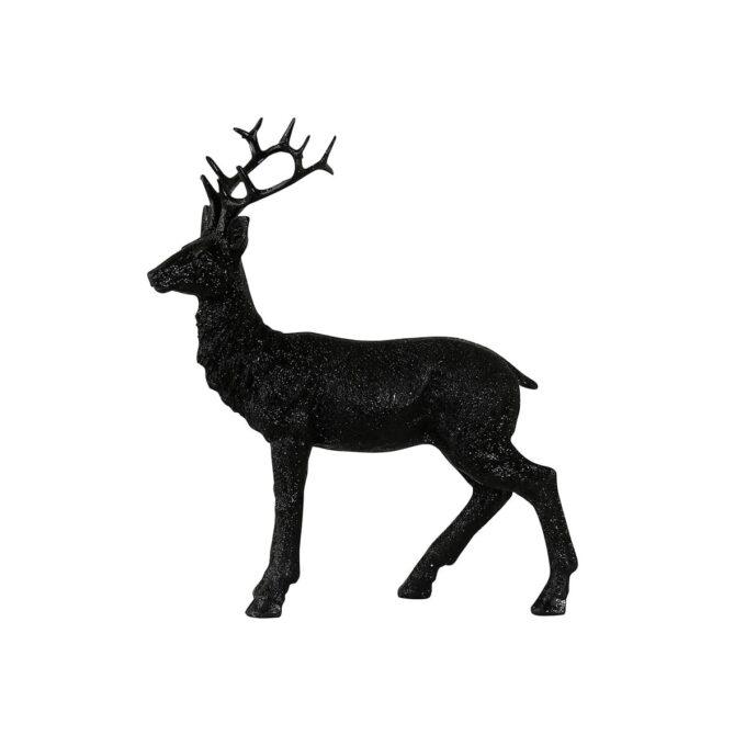 Hjort i sort med glitter høyde 24 cm- fin til dekorasjon eller som bordpynt.