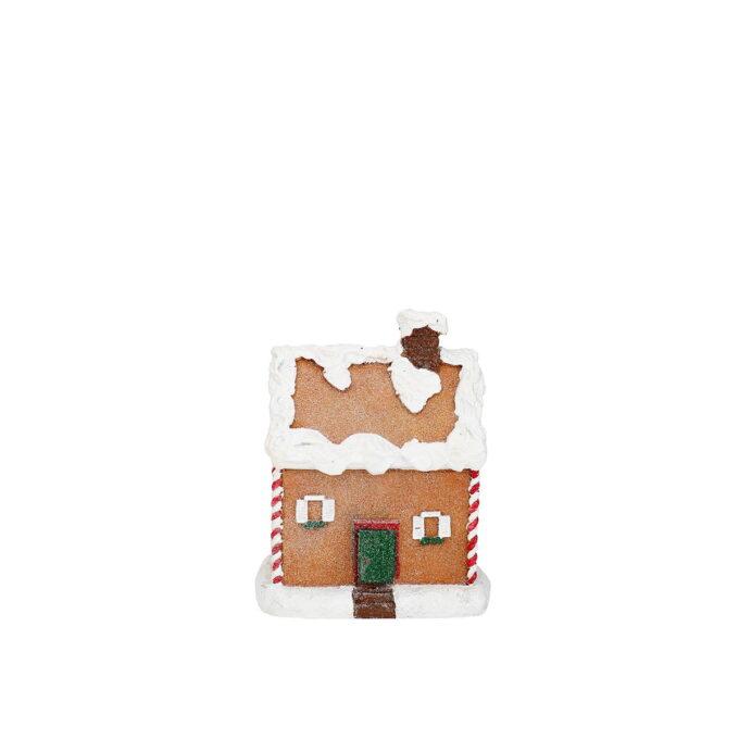 Søtt lite pepperkakehus med mye snø på taket. Høyde 14,7 cm