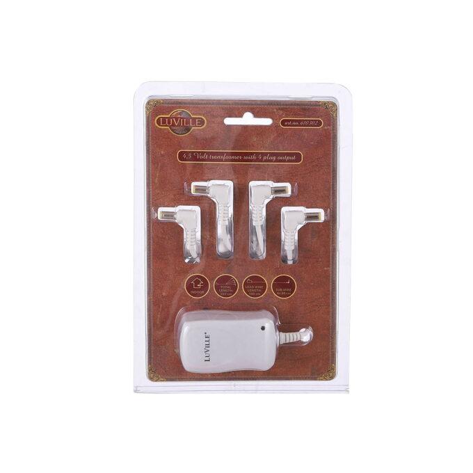 Her har du adapter om du ønsker å koble julebyen din til strøm, istedenfor batteri. 4,5 Volt . Til de julebyene som bruke 3x AA. Kan koble samme 4 stk.