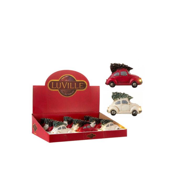 En fin Beetle med juletre på taket. Lys som går på batteri 2x AAA. 12cmx5cmx6cm høy.
