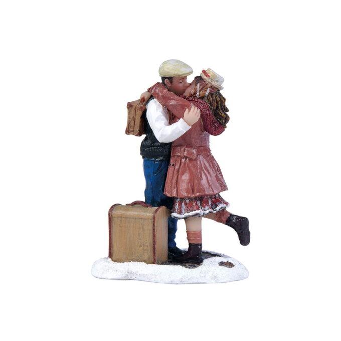 Juleby farvelkyss Luville Romantisk par i julebyen 4,5cmx3,5cmx6,5 cm høy.