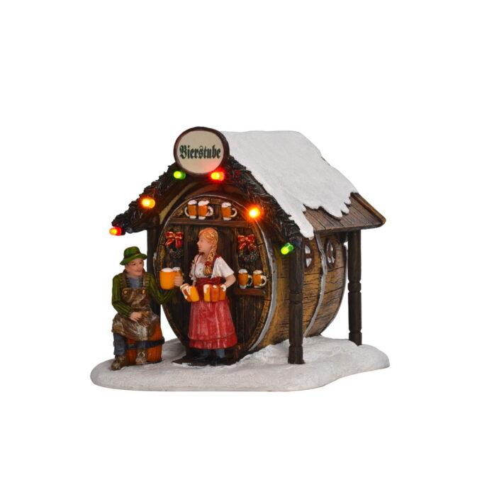 Juleby julemarked Luville Koselig julemarked i julebyen. Denne går på batteri. 11cmx11,5cmx 11,5 cm høy. Batteri 2XAA