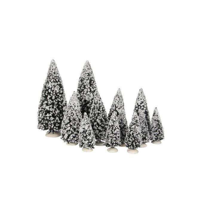 12 assorterte juletrær i ulike høyder med snø. Hører til Luville orginaleserien, som er samleserien til Luville.