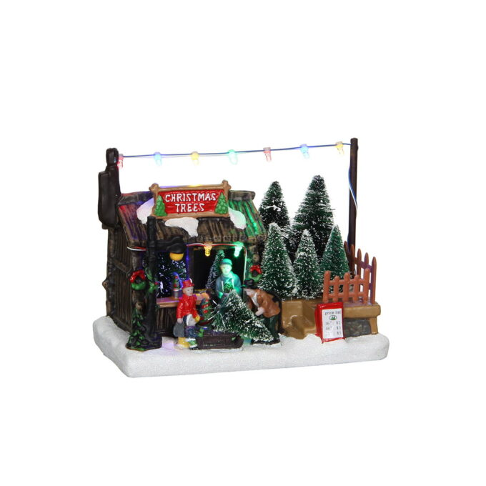 Juleby juletresalg Luville Juletrebutikk med lys, går på batteri. L18x B10,5x H14cm