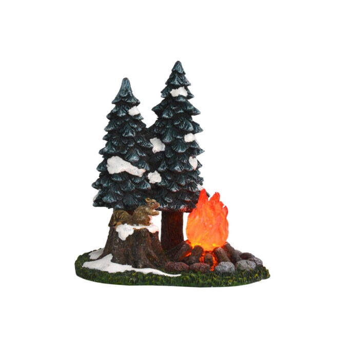 Juleby leirbål Luville Fint med et lite leirbål i skogen. Bålet lyser i mørket.Denne går på batteri.