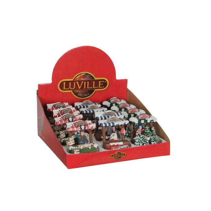 Julemarked er alltid koselig. Her er de assorterte julemarkeder. 8cmx6cmx9,5 cm høye. Batteri LR44