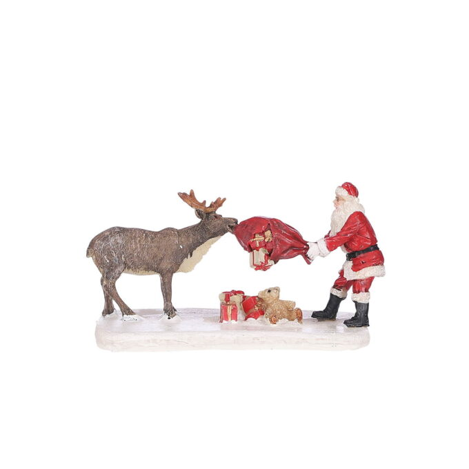 Reinsdyret tuller med julenissen. 12cmx7,5cmx 7cm høy Hører til Luville orginaleserien, som er samleserien til Luville.