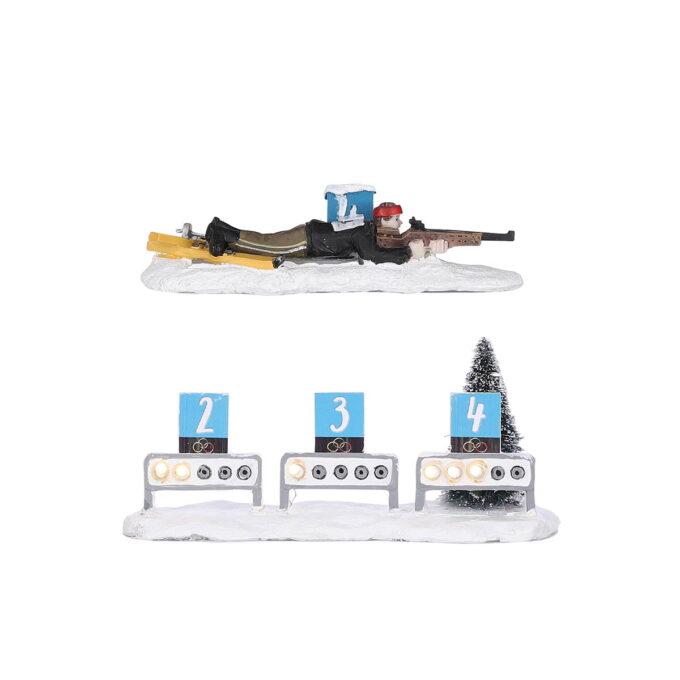 Skiskyting Luville Batteri 2xAA Nå har vi fått skiskyterarena i julebyen, sammen med en utøver som prøver å treffe blinkene.