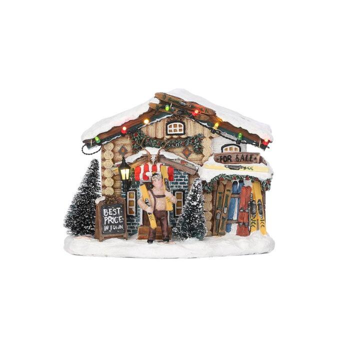 Et skiutsalg hører til i julebyen. Med lys og går på batteri. Hører til Luville orginaleserien, som er samleserien til Luville.