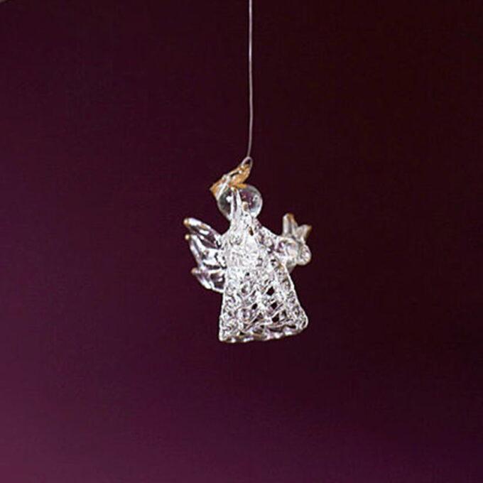Nydelige glassengler med gulldetaljer. 5 kr av hver solgte engel går til barnekreftforeningen.
