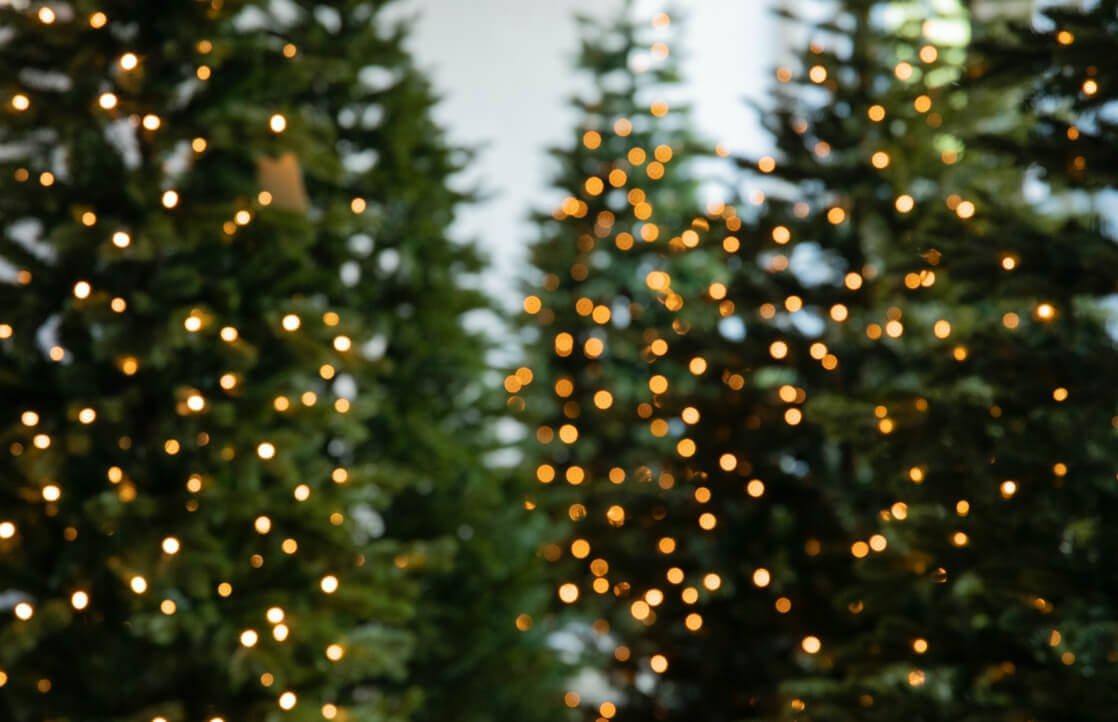 Kunstige jueltre med lys