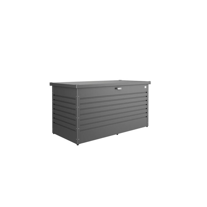 Høy putekasse Lesiuretime 160 mørk grå vedlikeholdsfri og vanntett og ventelerende, 830 liter.