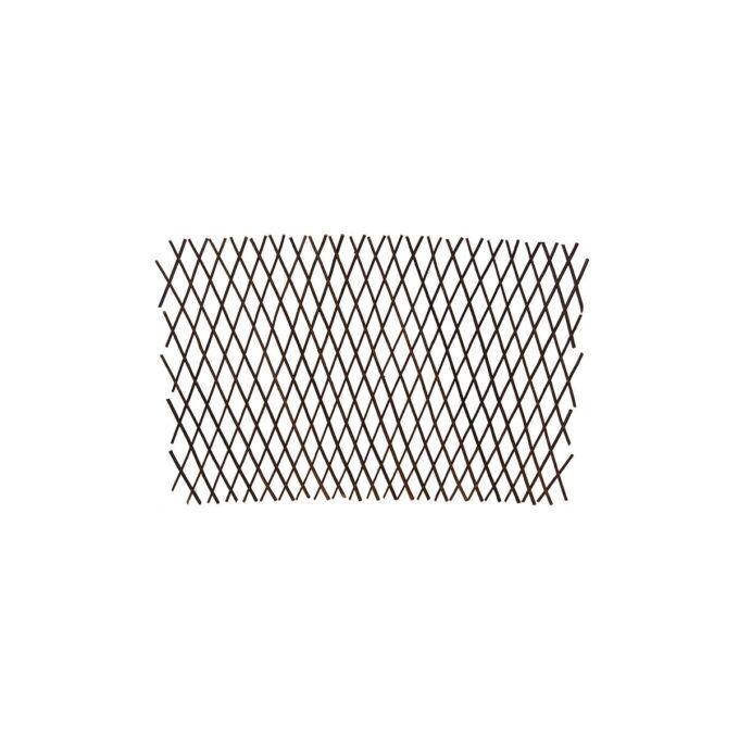 Espalie som er laget av pilekvister som er satt sammen med ståltråd. De lange pilekvistene er fleksible og tøyelige