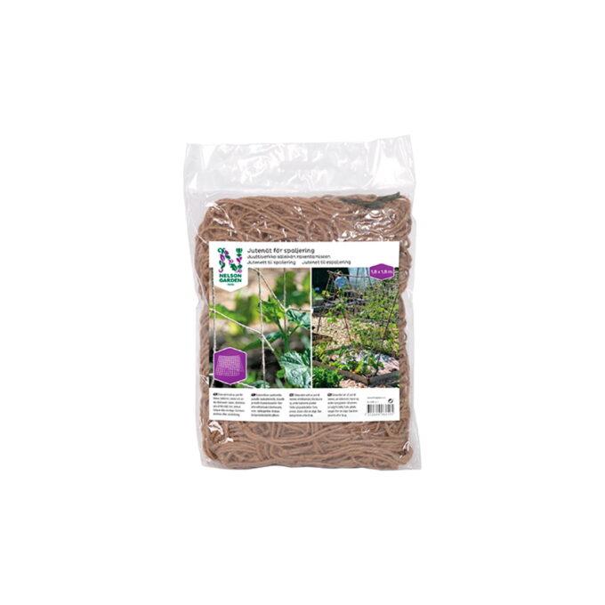 Dekorativt nett av jute til bønner, erteblomster, blomkarse og andre klatrende planter. Festes på plantestøtte, f.eks. pinner, staver eller en stige.