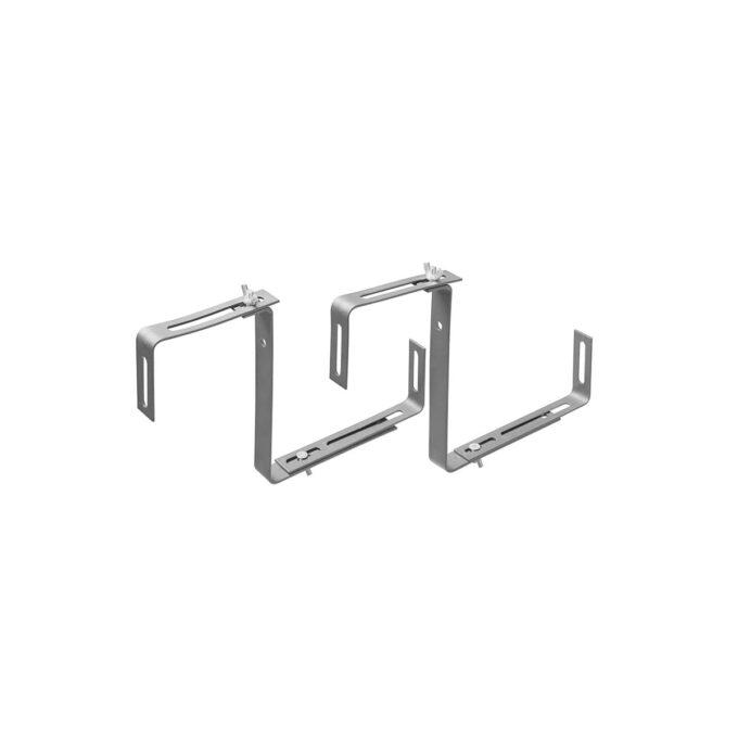 Konsoll eller brakett for opphenging av verandakasser på vegg eller en verandarekke. i galvanisert stål