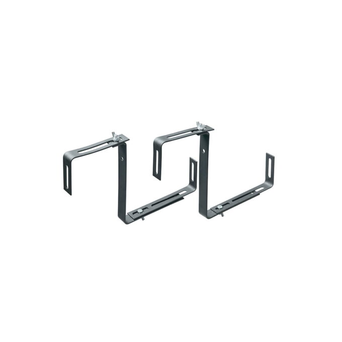 Konsoll eller brakett for opphenging av verandakasser på vegg eller en verandarekke. i svartlakkert stål