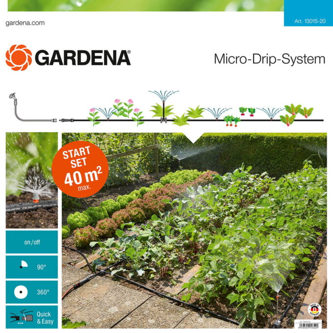 Startsett til vanning av blomsterbed eller kjøkkenhage. Vanningsanlegget rekker til ca 40 kvm.