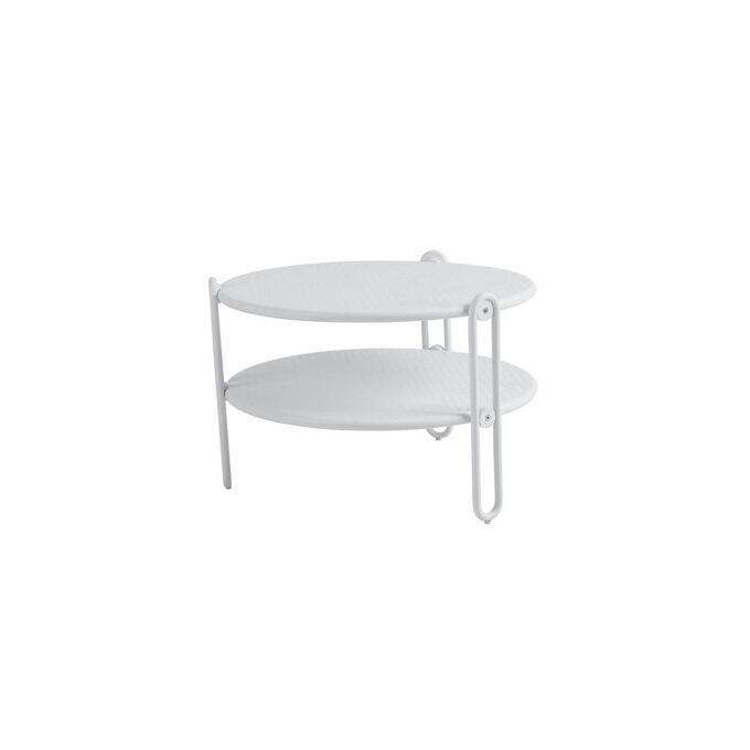 Blixt rundt bord i aluminium med diameter på 65 cm. Bordet har perforert bordplate, fine designdetaljer