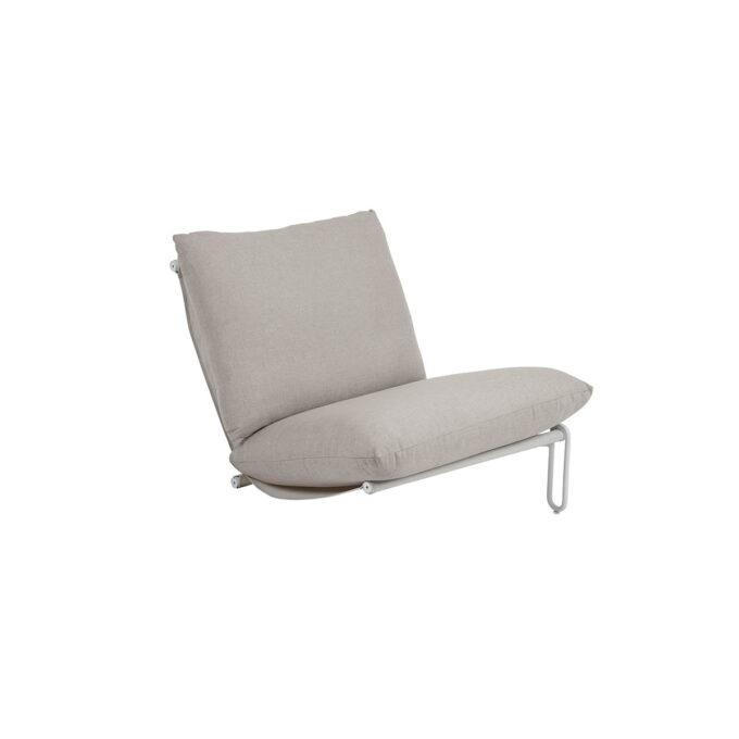 Moderne, byggbar sofa/stol i loungestil med aluminiumsstamme og sete i textilene