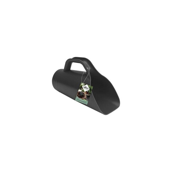 Stor ergonomisk plantespade i resirkulert plast i trendy sort farge