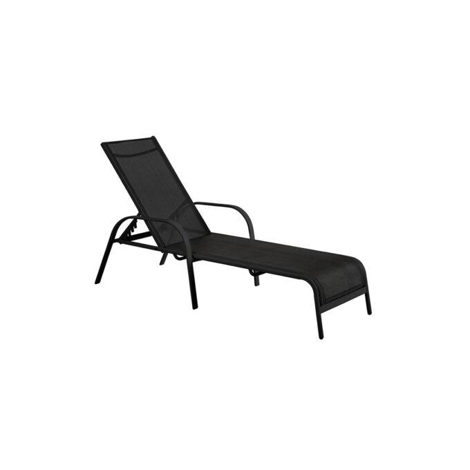 en enkel og fin solseng i sort aluminium og textilene.