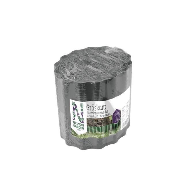 Kantbeskyttelse i antrasittfarget plast. Praktisk å ha mellom bed og plen slik at gresset ikke sprer seg inn i bedet. Brukes til både rette og runde former!