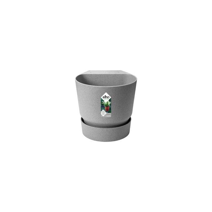 Enkel potte i resirkulert plast til å henge på rekkverket.Enkel potte i resirkulert plast til å henge på rekkverket.