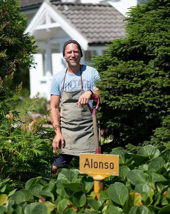 En dag i hagen til alonsohuset i Sandefjord
