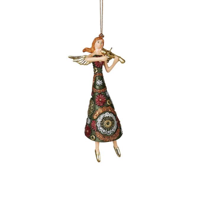 Fiolinspillende engel er klar for festkonsert. Vakker kjole i de tradisjonelle julefargene grønt, rødt, gull og sølv.