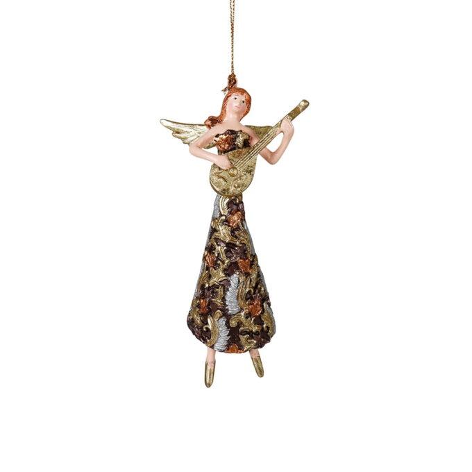 Engel med gitar kledd i lang, sort kjole med lekkert mønster i gull, sølv og bronse. La henne spille solo eller i samspill med en eller flere av figurene i samme serie.