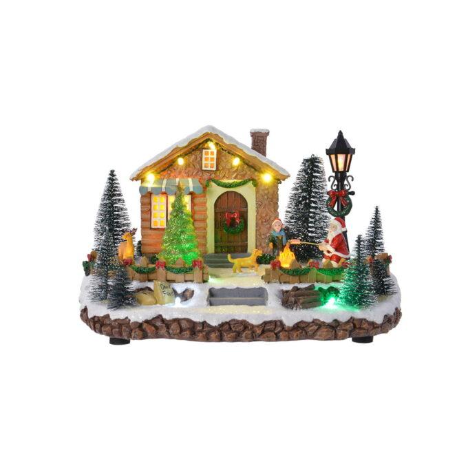 Vil du ha besøk av nissen, er dette julebyen for deg. Nydelig vinterlandskap med grantrær og flere varmende bål. Med musikk og bevegelse.