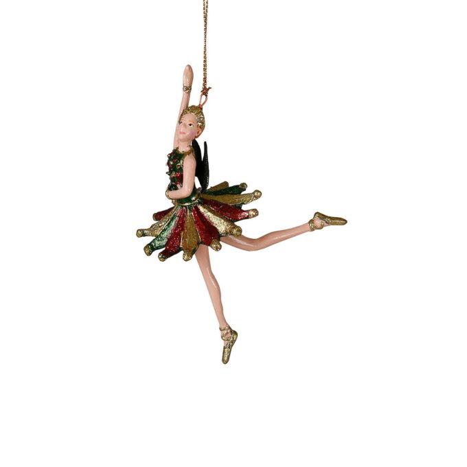 Festpyntet ballerina i grønt, rødt og gull. Passer fint på treet eller i vinduet sammen med noen av de andre figurene i samme serie.