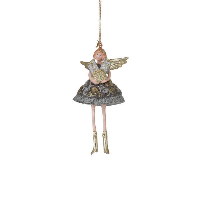 Her får du en engel i metalliske farger med favnen full av presanger. Passer fint på treet eller i vinduet