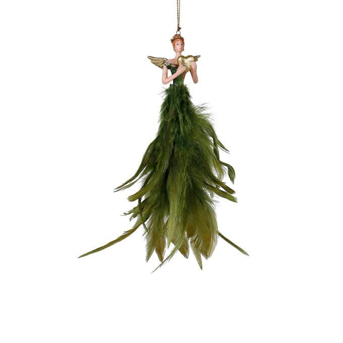 Elegant ballerina med kjole av grønne fjær.
