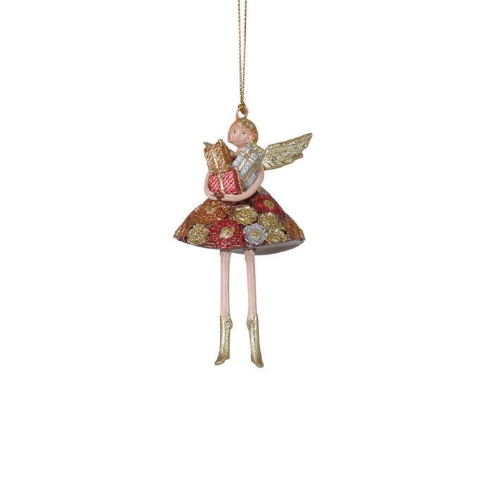 Her får du en engel i nostalgiske farger med favnen full av presanger. Passer fint på treet eller i vinduet