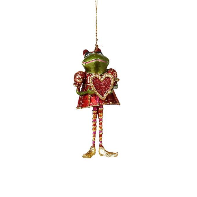 Det er umulig å ikke la seg sjarmere av denne rødkledde frosken med et hjerte av gull. Passer fint på treet eller i vinduet
