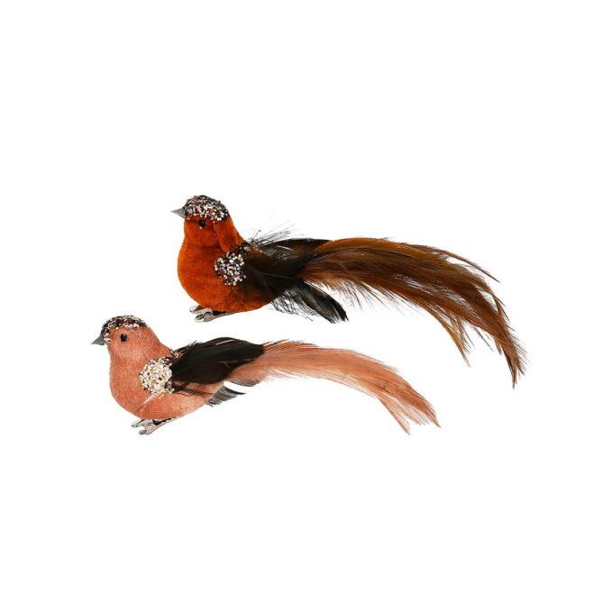 Glitter på hodet og og vingene får den til å skinne litt ekstra. Velg mellom rød, lys eller mørk brun. Pris pr stk.