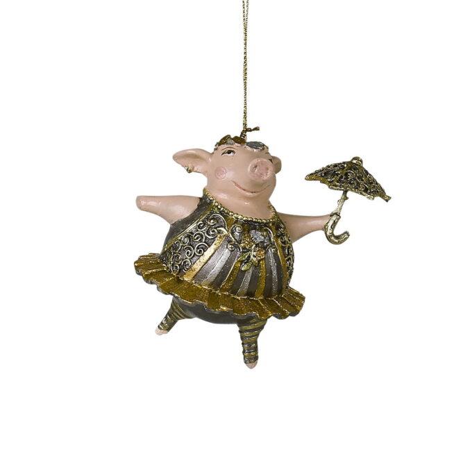 Griser hører julen til, men akkurat denne varianten er kanskje litt ukjent? Lubben gris med strutteskjørt og paraply kommer din vei.