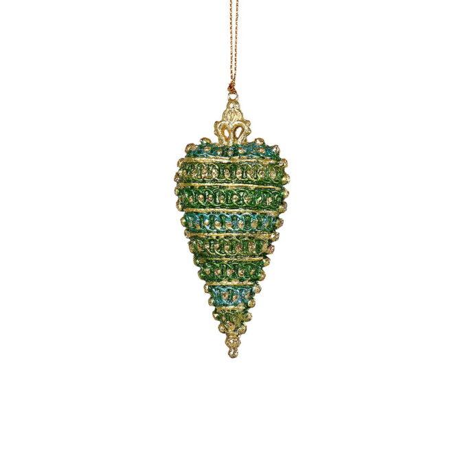 Elegant hjerte i gylne grønn- og blåtoner. Et lite smykke på juletreet.