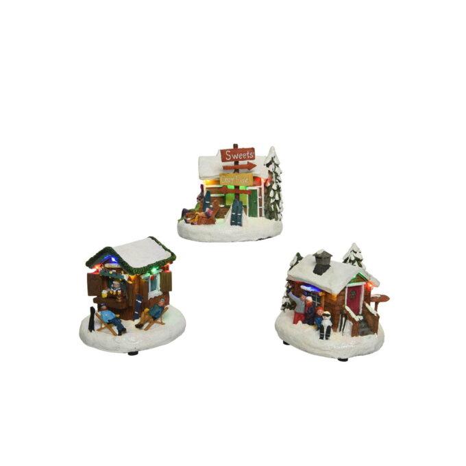 Herlige, små alpehytter der julestemingen er på plass. Pris pr stk.