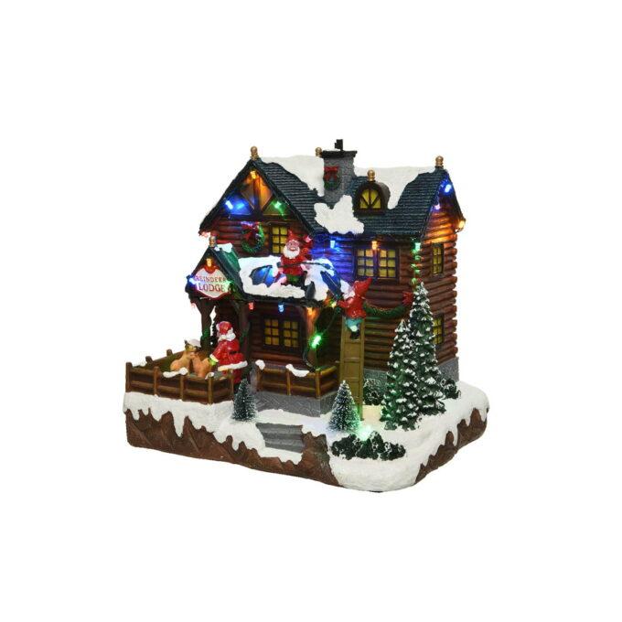 Her bor julenissen og alle hans hjelpere. I hagen står Rudolf klar til å frakte julegavene ut i verden.