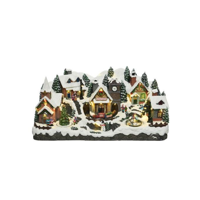Den ultimate julebyen. Her får du kirke, rådhus, flere landsbyhus med beboere, et tog som kjører og juletre som snurrer. Med musikk.