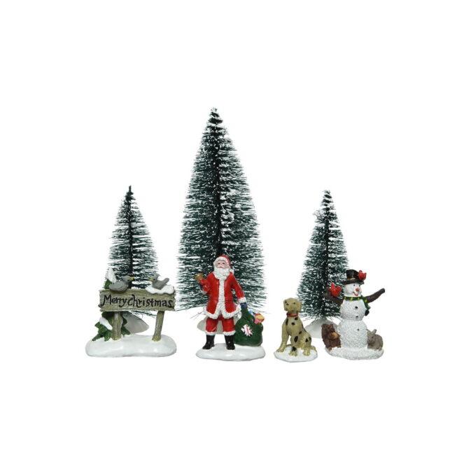 Sett med 7 figurer med dyr, trær og julenisse. Fint sett for å skape liv i julebyen.