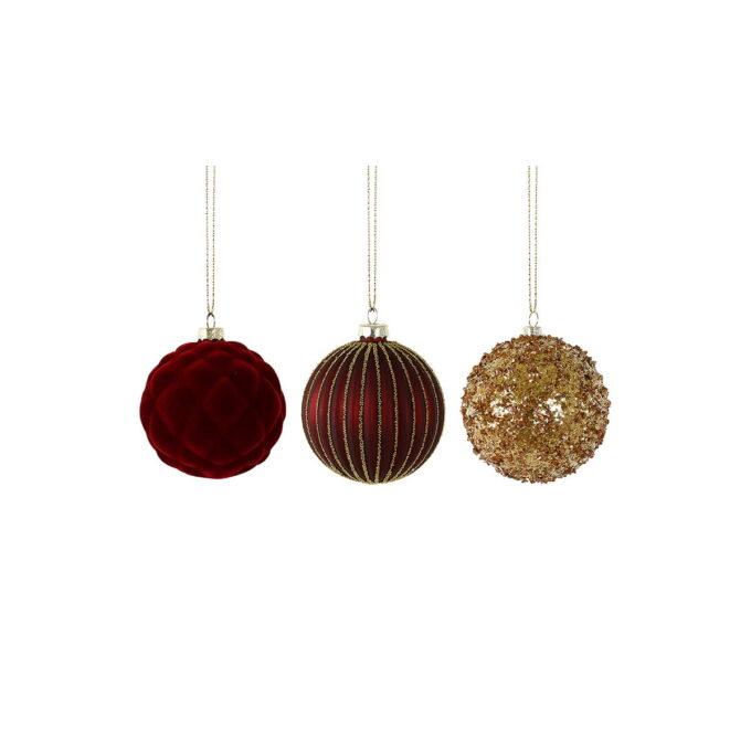 Klassiske og elegante juletrekuler i mørk rødt og gull. Pris pr stk.