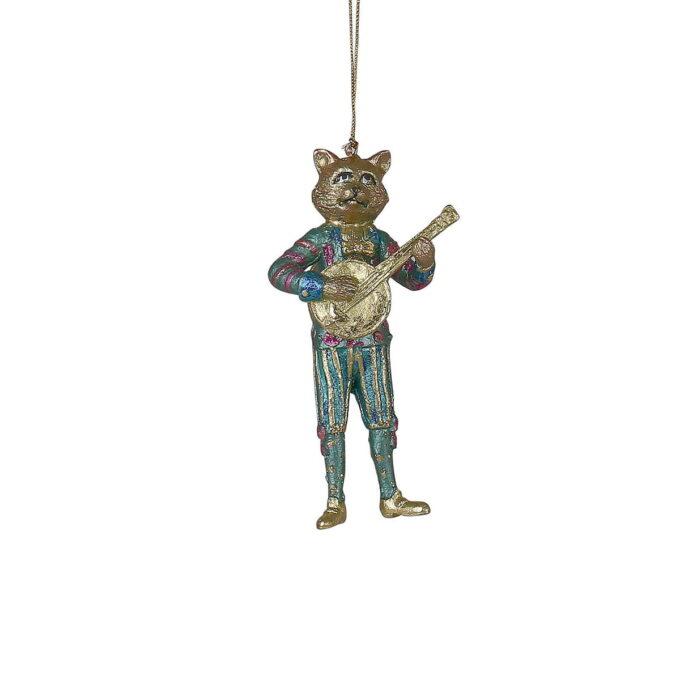 Aldri hørt om en banjospillende katt, sa du? Høyreist kattepus i langbukser og med en banjo i gull setter stemningen denne julen.