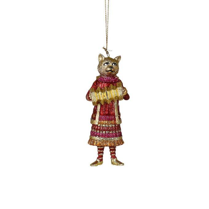 Aldri hørt om en katt med trekkspill, sa du? Festlig katt i gull. og rødnyanser spillende på et trekkspill i gull.