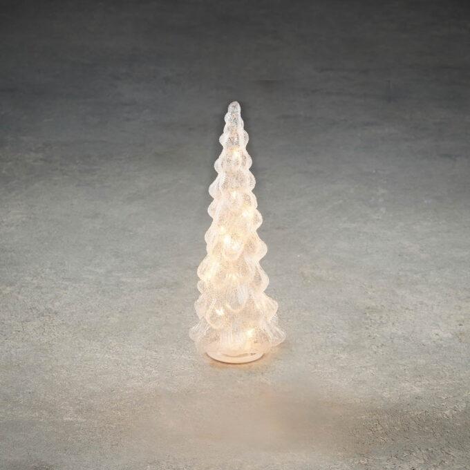 Lysdekorasjon frostet glasstre 15 LED H30cm H30cm d 13 cm. 15 LED som går på batteri