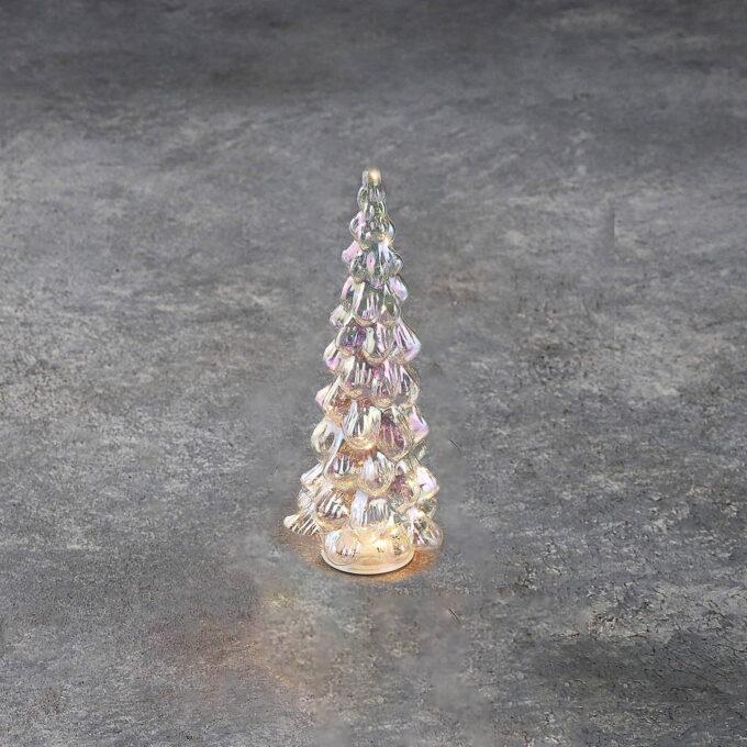 Lysdekorasjon glasstre 15 LED H30cm H30cm d 13 cm. 15 LED som går på batteri